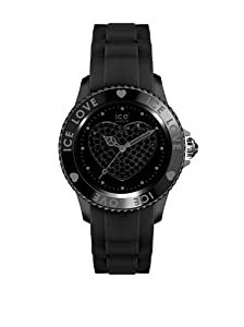 ICE-Watch - Montre femme - Quartz Analogique - Ice-Love - Black - Unisex - Cadran Noir - Bracelet Silicone Noir - LO.BK.U.S.10