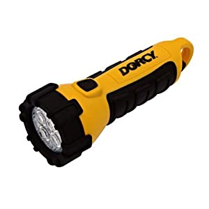 Dorcy 41-2510 Floating Waterproof LED Flashlight with Carabineer Clip, 55-Lumens, Yellow Finish