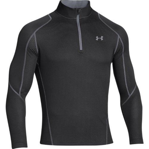 Mens Quarter-Zip Mock Neck Long Sleeve Shirt, Black/Steel, Small