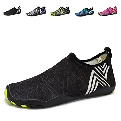 EQUICK Water Sports Shoes Barefoot Quick-dry Aqua Socks Slip-on for Men Women Kids,CCY01,B.Black,41 (Hotels With A Water Park compare prices)