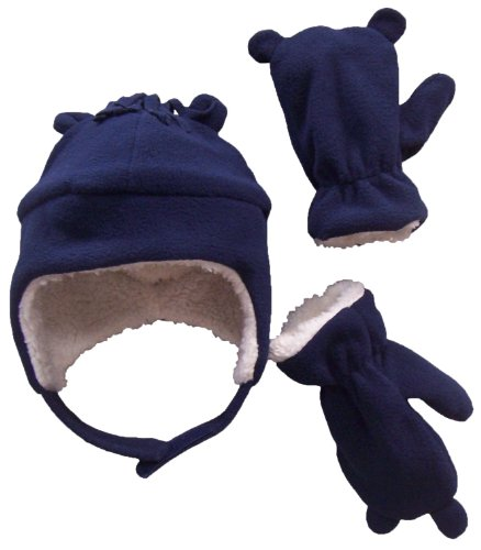 nice-caps-little-boys-and-baby-sherpa-lined-micro-fleece-pilot-hat-mitten-set-2-3-years-navy-white-s