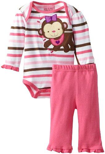 Carter'S Watch The Wear Baby-Girls Newborn Monkey Bodysuit Pant Set, Dark Pink, 6-9 Months front-974822