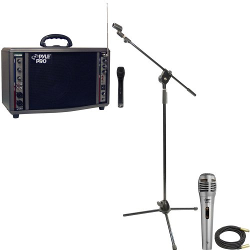 Pyle Speaker, Mic, Cable And Stand Package - Pwma3600 200 Watt Wireless Battery Powered Pa System - Pdmik1 Professional Moving Coil Dynamic Handheld Microphone - Pmks3 Tripod Microphone Stand W/ Extending Boom - Ppmcl50 50Ft. Symmetric Microphone Cable Xl