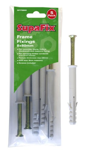 PACK OF 5 FRAME FIXINGS 8 X 80MM FOR TIMBER WINDOWS DOOR FRAMES SCREWS INCLUDED