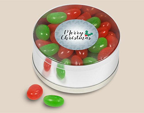 Merry Christmas Small Plastic Gift Tin Jelly Beans 3.2oz (Silver Jelly Beans Candy compare prices)