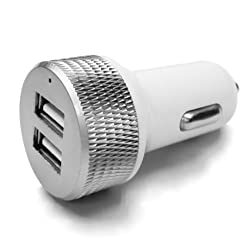 Car charger,BAVIER® 2 port USB Adapter,Car Charge adapter,car Power Adapter for Android Series and iPhone 6s/6s Plus,iPad Air 2,iPad,iPad mini,Samsung Galaxy Note Series (White)
