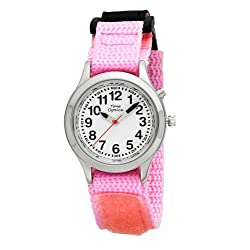 Youth (Kids) Talking Watch with Dual Voice/Alarm and Pink Velcro Strap