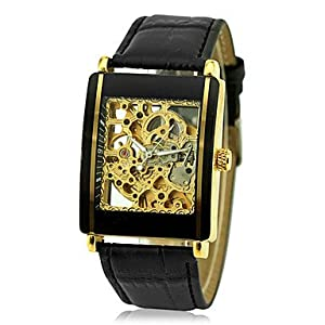 Men's Auto-Mechanical Gold Skeleton Square Case Black Leather Band Wrist Watch