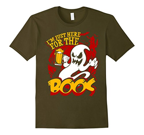 [Men's Halloween Shirt - Funny I'm Only Here For The Boos T Shirt Large Olive] (Bite Me Vampire Adult Costumes)