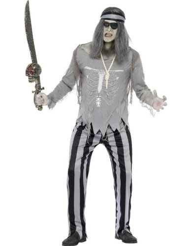 Smiffy's Men's Ghost Ship Pirate Shipmate Costume with Top Trousers and Headband