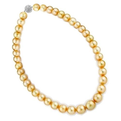 Bling Jewelry 14mm South Sea Shell Golden Pearl Bridal Necklace
