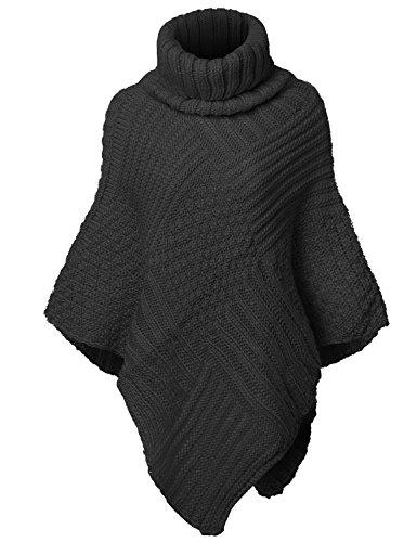 Warm Turtleneck Batwing Sleeve Poncho Sweaters