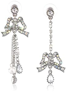 "Betsey Johnson ""Stone & Pearl"" Crystal Bow Mismatch Drop Earrings"