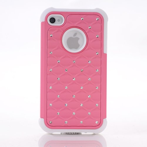 Meaci® Iphone 4 4S Case 2 In 1 Combo Hybrid Case Glitter/Bling Studded Diamond Dual Layer Pc&Silicone Protective Case 1X Diamond Anti-Dust Plug Stopper(Random Color) (Light Pink)