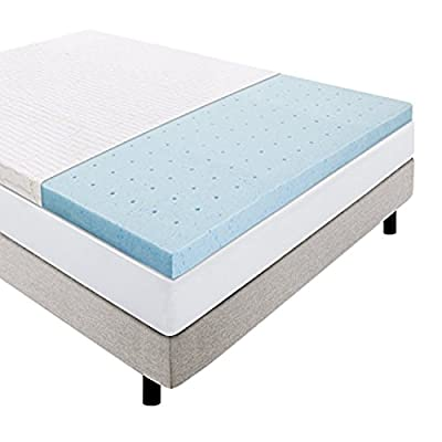 LUCID 2.5 Inch Gel Infused Ventilated Memory Foam Mattress Topper with Removable Bamboo Cover 3-Year Warranty