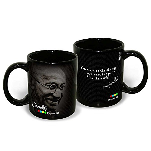Hot Muggs Mahatma Gandhi Quote You Must be the Change Ceramic Inspirational Mug, 350ml