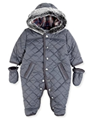 Autograph Hooded Faux Fur Trim Quilted Snowsuit with Mittens