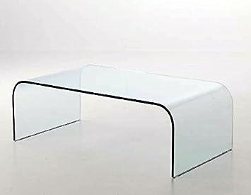 Table basse en verre incurvé
