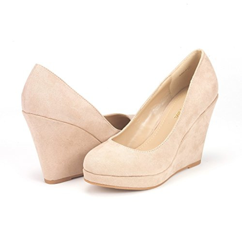 03. DREAM PAIRS ASH-P Women's Elegant Closed Toe Wedge Platform Pumps Shoes