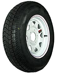 15″ x 5″ White Spoke Trailer Wheel with bias ST20575D15C Tire Mounted (5-4.5″ bolt circle)