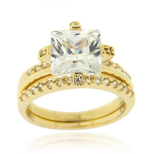 18K Gold over Sterling Silver Square CZ Wedding Engagement Stackable Ring Set