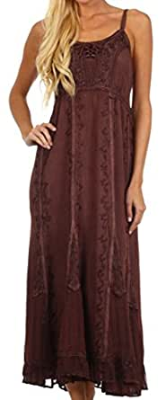 Sakkas 0212 Stonewashed Empire Waist Floral Vine Trumpet Crepe Inlay Ruffle Hem Dress - Chocolate - One Size