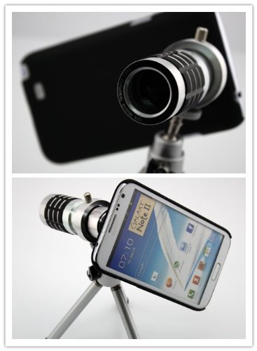Big Dragonfly Samsung Galaxy Note 2 N7100 Camera Lens Kit Includes / 12 X Telephoto Manual Focus Telescope Camera Lens / 1 Mini Tripod / 1 Flexible Universial Holder / 1 Special Protection Case For Samsung Galaxy Note Ii / 1 Cleaning Cloth / 1 Black Pouch