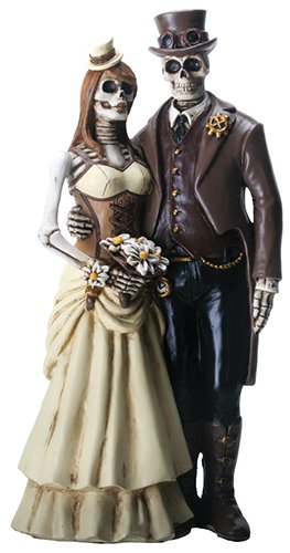 8 Inch Steampunk Skeleton Wedding Couple Statue