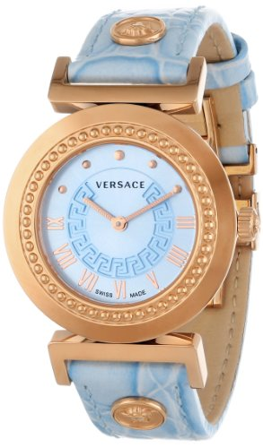 Versace Women's P5Q80D115 S115 Vanitas Rose Gold Ion-Plated Light Blue Dial Leather Watch