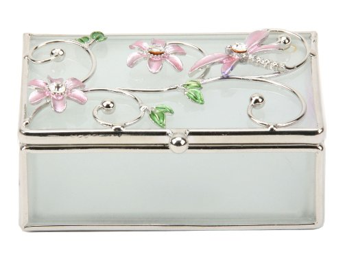 Personalised Frosted Dragonfly Oblong Trinket or Jewellery Box Pink FREE ENGRAVING