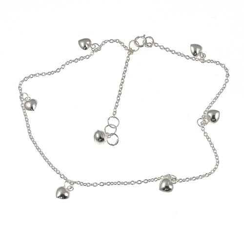Sterling Silver Heart Drops Ankle Chain