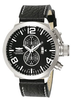 Invicta Men's 3474 Black Leather Chronograph Watch