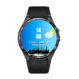 KW88 3G WIFI Smartwatch Cell Phone All-in-One Bluetooth Smart Watch Android 5.1 SIM Card with GPS,Camera,Heart Rate Monitor,Google map, Google Play