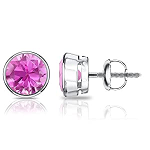 Platinum Round Pink Sapphire Gemstone Stud Earrings in Bezel Screw Backs (1/4 cttw)