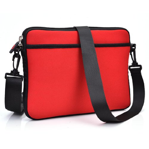 Red Scoop Series Tablet Carrying Bag Sleeve With Shoulder Strap For Zeepad 9Xn Tablet