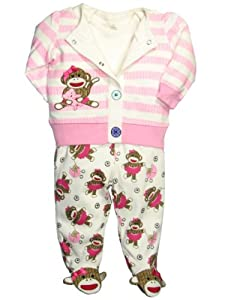 Baby Girl Sock Monkey Striped Jacket, Bodysuit, and Footed Pants Outfit