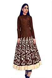 Snapyshopy Outstanding Brown Colored Embroidered Banglori Silk Indo Western Gown