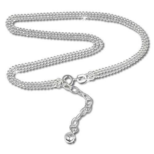 SilberDream anklet trhree rows ball chain, 925 Sterling Silver 9.45 inch SDF012