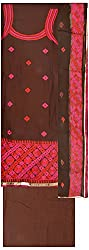 Simran Silk Store Women's Cotton Unstitched Dress Material (Brown & Pink)