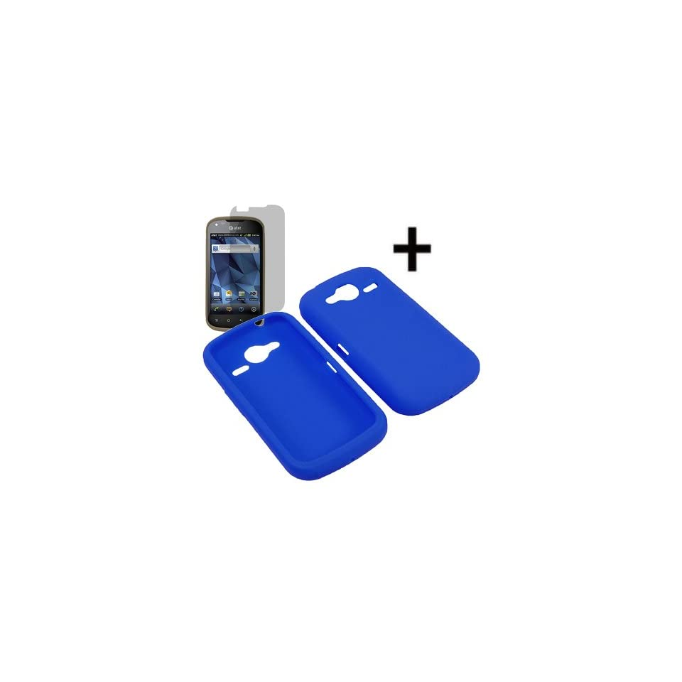 BW Soft Sleeve Gel Cover Skin Case for AT&T Pantech Burst P9070 + Fitted Screen Protector  Blue