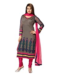 Ritu Creation Women's New Silk Stitched Straight Long Chudidar Suit With Neck&Daman Embroided Work