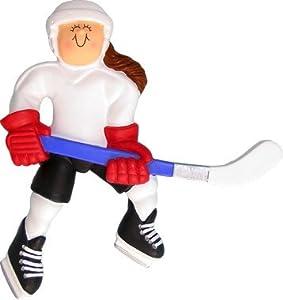 Brunette Female Hockey Player Christmas Ornament