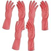 Primeway Rubberex Flocklined Rubber Hand Gloves, Medium, Set Of 3 Pairs, Pink
