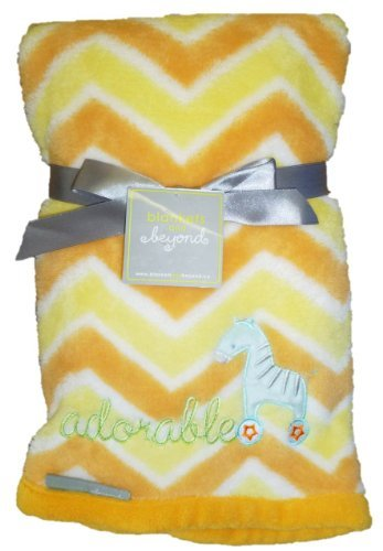 "30"" x 32"" Yellow & Orange Striped ""adorable"" Giraffe Blanket - 1"