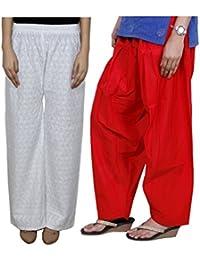 IndiWeaves Women Full Cotton Chikan White Palazzo With Cotton Red Seme- Patiala Salwar - Free Size (Pack Of 1 Palazzo With 1 Patiala Salwar)