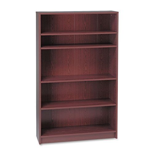 HON 1870 Series Bookcase, 5 Shelves, 36 W by 11-1/2 D by 60-1/8 H, Mahogany Storage Mahogany 5 Shelf Bookcase