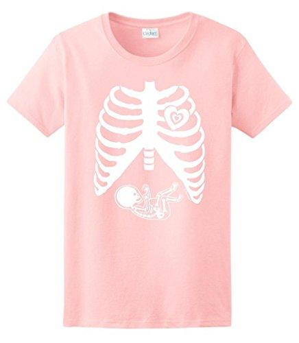 Pregnant Skeleton Baby Maternity Theme Costume Ladies T-Shirt Medium Light Pink front-1066083