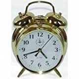 Saxon Large Brass Double Bell Alarm Clock - Gold