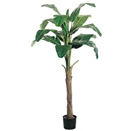 Silk Décor Banana Tree with Round Pot, 6-Feet