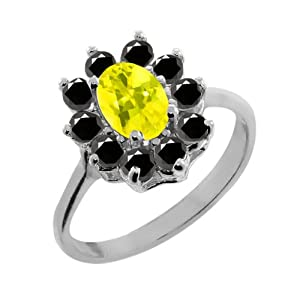1.28 Ct Oval Canary Mystic Topaz Black Diamond 925 Sterling Silver Ring
